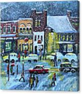 Snowing In Concord Center Canvas Print