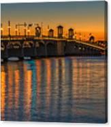 St Augustine Bridge Of Lions Sunset Dsc00433_16 Canvas Print