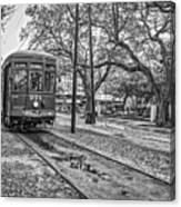 St. Charles Streetcar Monochrome Canvas Print