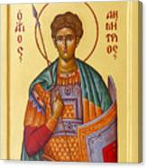 St Demetrios The Great Martyr And Myrrhstreamer Canvas Print