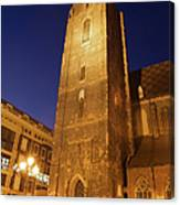 St. Elizabeth's Church Tower At Night In Wroclaw Canvas Print