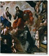 St Francis Of Assisi In The Portiuncula With  Donors Antonio Contreras And Maria Amezqueta Canvas Print