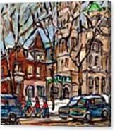 St Gabriel's Rectory  St Charles Church Rue Centre Pointe St Charles  Original Oil Painting Cspandau Canvas Print