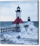 St. Joseph Lighthouse With Waves Canvas Print
