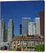 St Lawrence Market And Gooderham Flatiron Building With Cn Tower Canvas Print