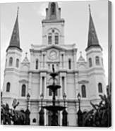 St Louis Cathedral And Fountain Jackson Square French Quarter New Orleans Black And White Canvas Print