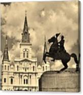 St. Louis Cathedral And Statue Canvas Print