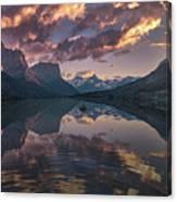 St Mary Lake At Dusk Panorama Canvas Print