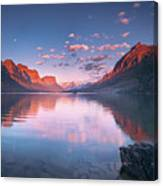 St Mary Lake In Early Morning With Moon Canvas Print