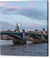 St. Paul's Cathedral Behind The Southwark Bridge During Sunset Canvas Print
