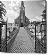 Church And Gravemarkers Canvas Print