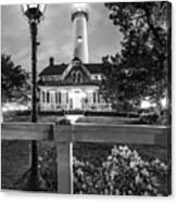 St. Simons Lighthouse Black And White Canvas Print