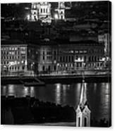 St Stephens Basilica Night Bw Canvas Print