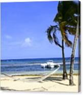St Thomas Beach Hamocks And Boats Iggys Canvas Print