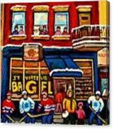 St. Viateur Bagel Hockey Practice Canvas Print