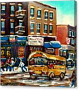 St. Viateur Bagel With Hockey Bus  Canvas Print