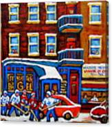St Viateur Bagel With Hockey Montreal Winter Street Scene Canvas Print