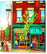 St. Viateur Bagel With Shoppers Canvas Print