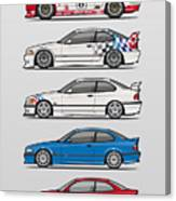 Stack Of Bmw 3 Series E36 Coupes Canvas Print