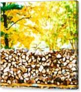 Stack Of Firewood Canvas Print