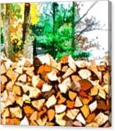 Stacked Fire Wood In Preparation For Winter 1 Canvas Print