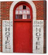 Stagecoach Hotel - Rustic Antique Red Door Home Country Southwest Canvas Print