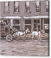 Stagecoach In Saratoga Historical Vignette Canvas Print