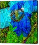 Stained Glass Blue Poppy One Canvas Print