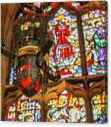 Stained Glass Lantern And Window Canvas Print