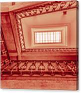 Staircase In Red Canvas Print