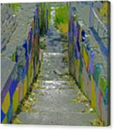 Stairs With Painted Rocks Canvas Print