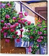 Stairway Floral Plein Air Canvas Print