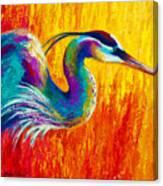 Stalking The Marsh - Great Blue Heron Canvas Print
