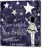 Star Light Star Bright Chalk Board Nursery Rhyme Canvas Print