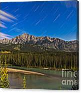 Star Trails Above The Front Ranges Canvas Print