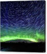 Star Trails And Aurora Canvas Print