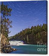 Star Trails And Moonbow Over Bow Falls Canvas Print