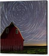Star Trails At The Red Barn Canvas Print