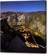 Star Trails At Yosemite Valley Canvas Print