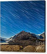 Star Trails Over Columbia Icefields Canvas Print