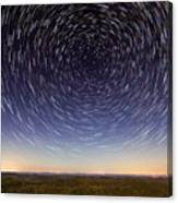 Star Trails Over Mountains Canvas Print
