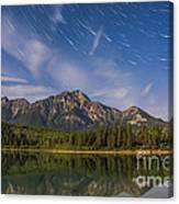 Star Trails Over Patricia Lake Canvas Print