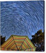 Star Trails Over The Umbrellas Canvas Print