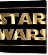 Star Wars Golden Typography On Black Canvas Print
