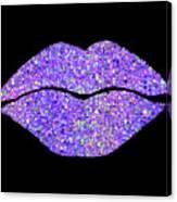 Stardust Kiss, Purple Hologram Lipstick On Pouty Lips, Fashion Art Canvas Print