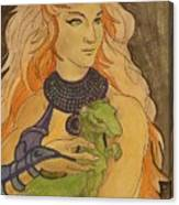 Starfire With Beast Boy In The Form Of A Ermine Canvas Print