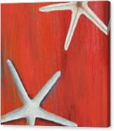 Starfish On Red Canvas Print