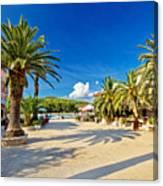 Stari Grad On Hvar Island Palm Waterfront Canvas Print