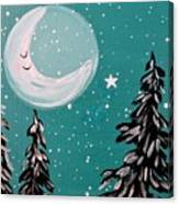 Starry Night Crescent Moon  Canvas Print