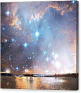 Starry Night Over A Mountain Lake Fantasy Canvas Print